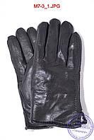 Оптом мужские кожаные перчатки зимние на меху (шерсть) - №M7-3, фото 1