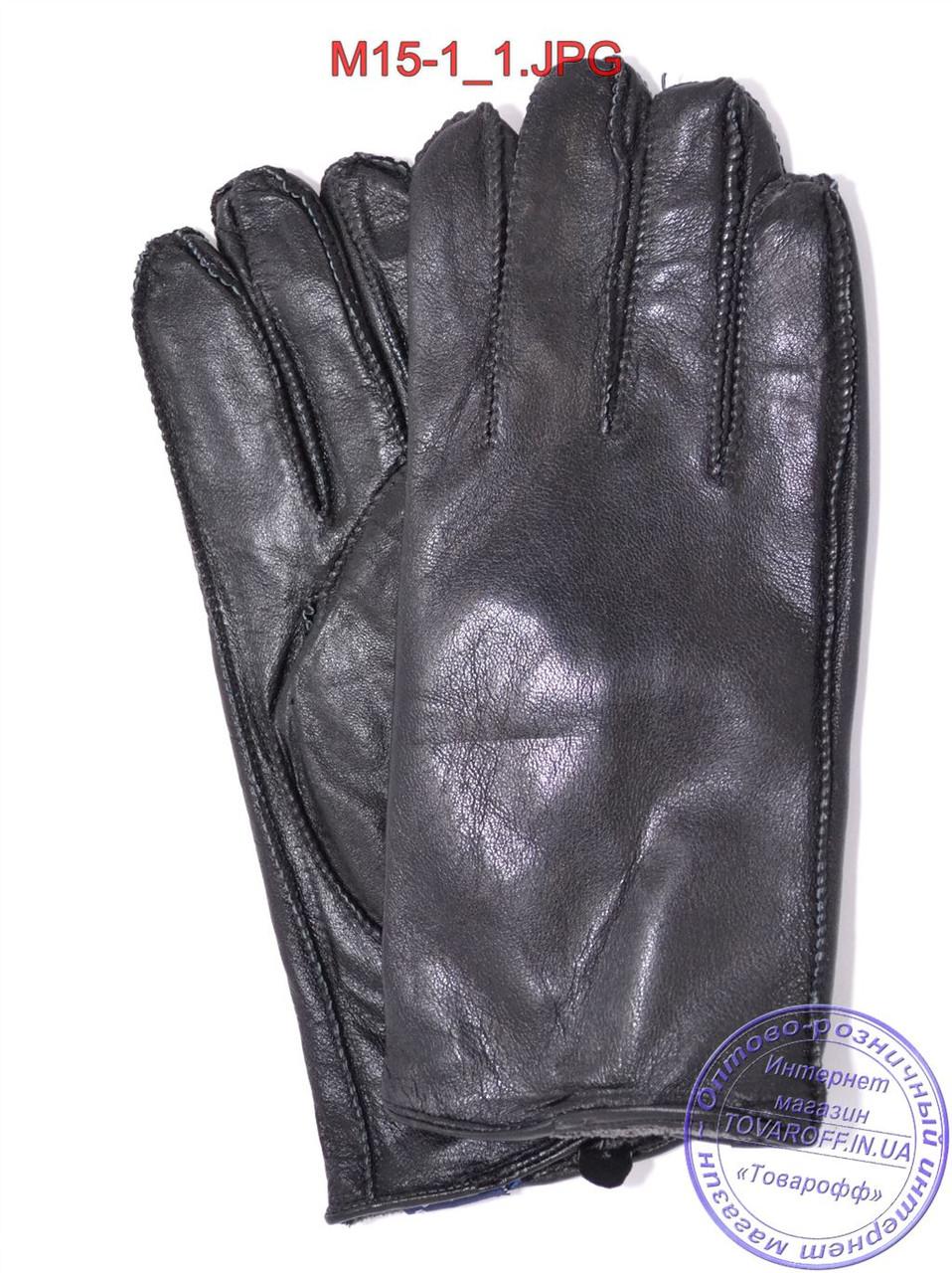Мужские кожаные перчатки с махровой подкладкой (наружный шов) - №M15-1
