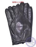Оптом мужские кожаные перчатки с махровой подкладкой (наружный шов) - №M15-1