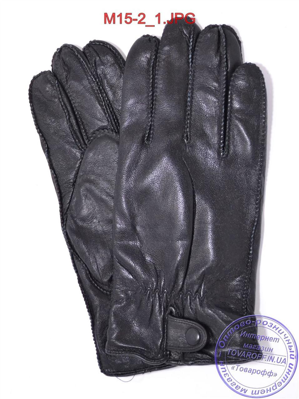 Оптом мужские кожаные перчатки с махровой подкладкой (наружный шов) - №M15-2