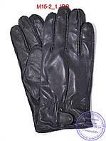 Оптом мужские кожаные перчатки с махровой подкладкой (наружный шов) - №M15-2, фото 1