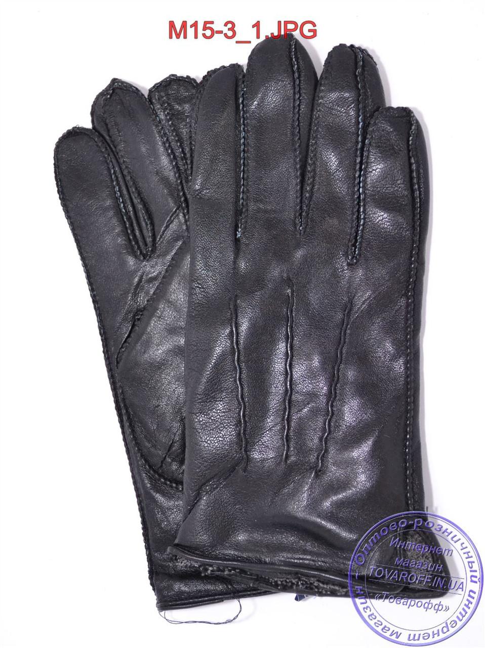 Оптом мужские кожаные перчатки с махровой подкладкой (наружный шов) - №M15-3