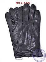 Оптом мужские кожаные перчатки с махровой подкладкой (наружный шов) - №M15-3, фото 1