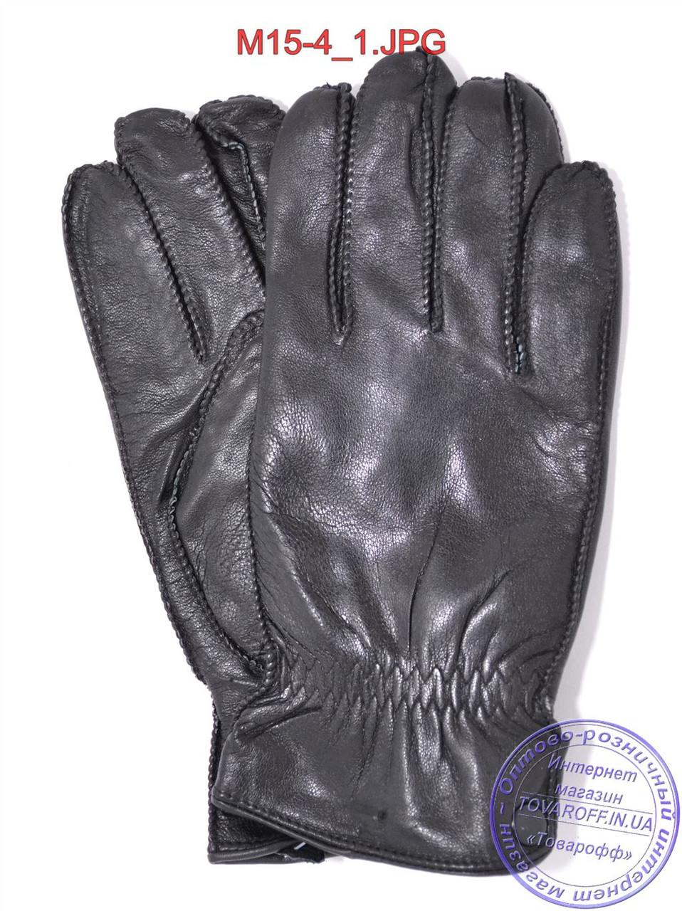 Мужские кожаные перчатки с махровой подкладкой (наружный шов) - №M15-4