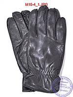 Мужские кожаные перчатки с махровой подкладкой (наружный шов) - №M15-4, фото 1