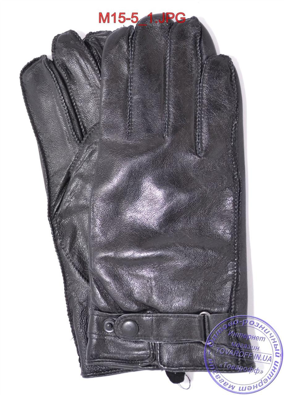 Мужские кожаные перчатки с махровой подкладкой (наружный шов) - №M15-5