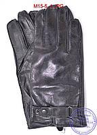 Оптом мужские кожаные перчатки с махровой подкладкой (наружный шов) - №M15-5, фото 1