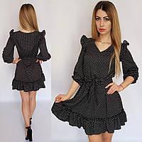 Платье короткое с рюшами в горох черное, 192