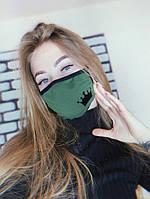 Маска защитная тканевая женская черно-зеленая, с рисунком Queen
