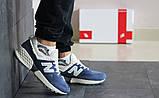 Замшеві чоловічі сині кросівки New Balance 574, фото 8