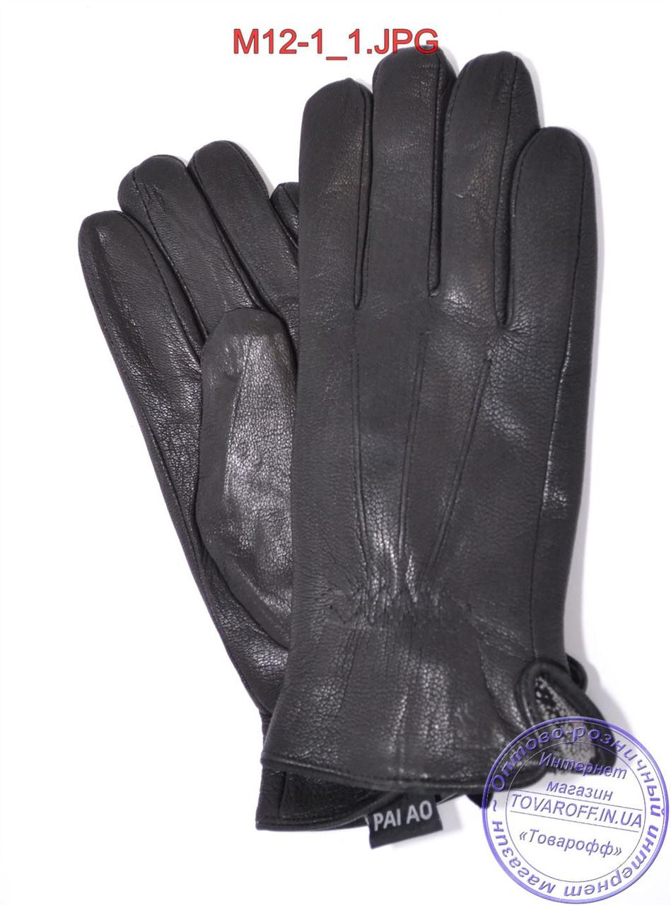 Мужские кожаные перчатки из оленьей кожи с махровой подкладкой - №M12-1