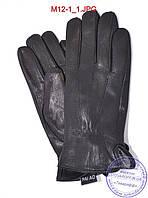 Мужские кожаные перчатки из оленьей кожи с махровой подкладкой - №M12-1, фото 1