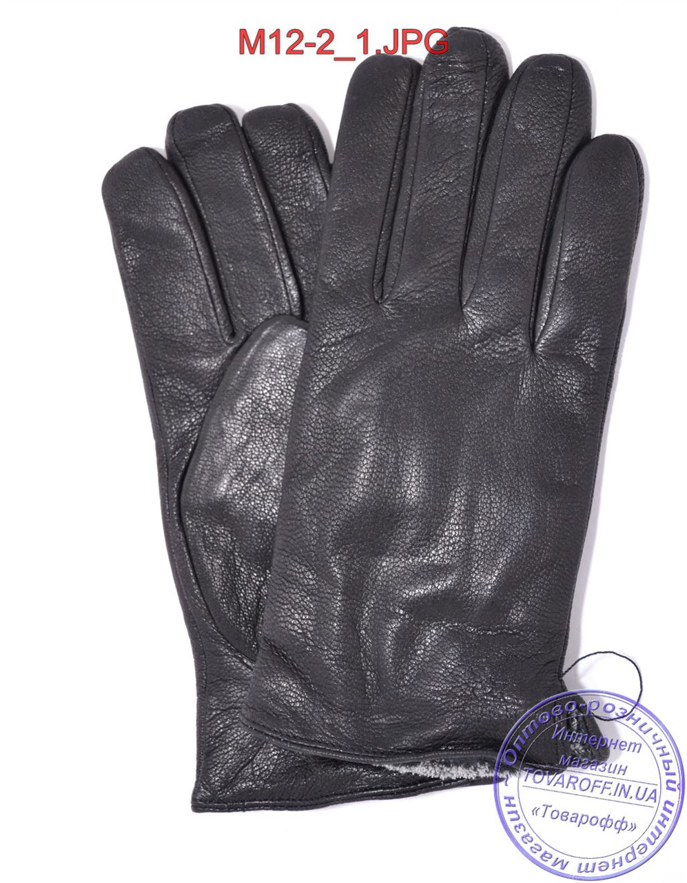 Мужские кожаные перчатки из оленьей кожи с махровой подкладкой - №M12-2