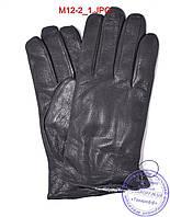 Мужские кожаные перчатки из оленьей кожи с махровой подкладкой - №M12-2, фото 1