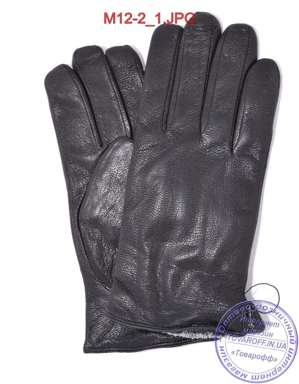 Оптом мужские кожаные перчатки из оленьей кожи с махровой подкладкой - №M12-2