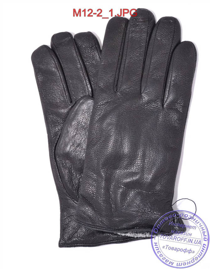 Оптом мужские кожаные перчатки из оленьей кожи с махровой подкладкой - №M12-2, фото 2