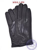 Мужские кожаные перчатки из оленьей кожи с махровой подкладкой - №M12-3
