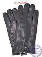 Мужские кожаные перчатки из оленьей кожи с махровой подкладкой - №M12-4