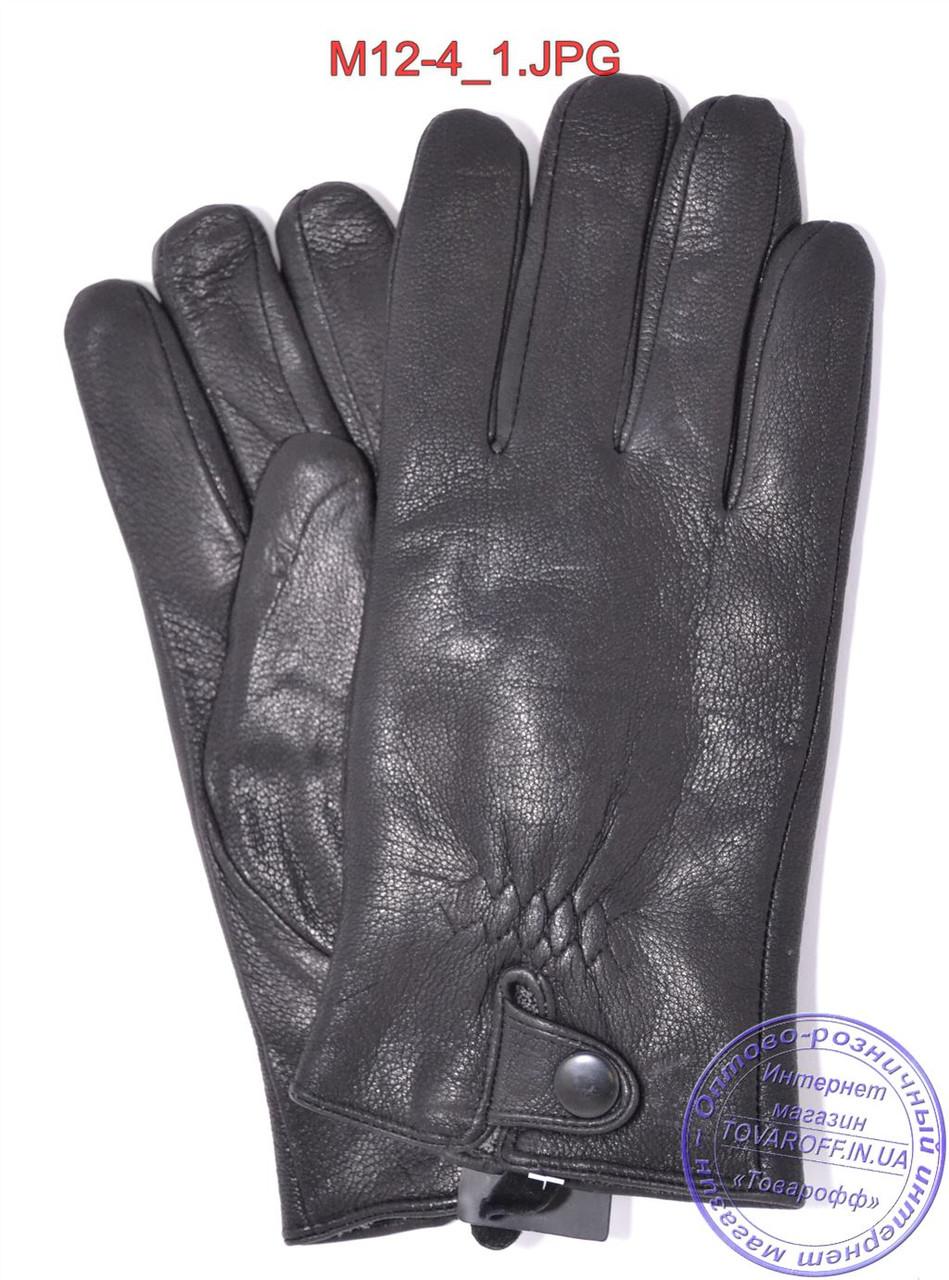 Оптом мужские кожаные перчатки из оленьей кожи с махровой подкладкой - №M12-4