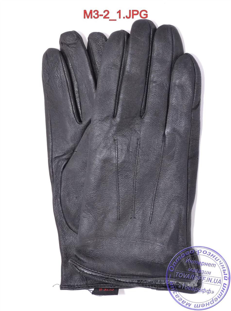 Оптом мужские демисезонные кожаные перчатки с плюшевой подкладкой  - №M3-2