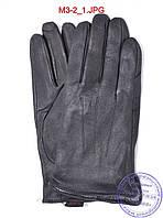 Оптом мужские демисезонные кожаные перчатки с плюшевой подкладкой  - №M3-2, фото 1