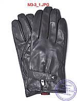 Мужские демисезонные кожаные перчатки с плюшевой подкладкой  - №M3-3, фото 1