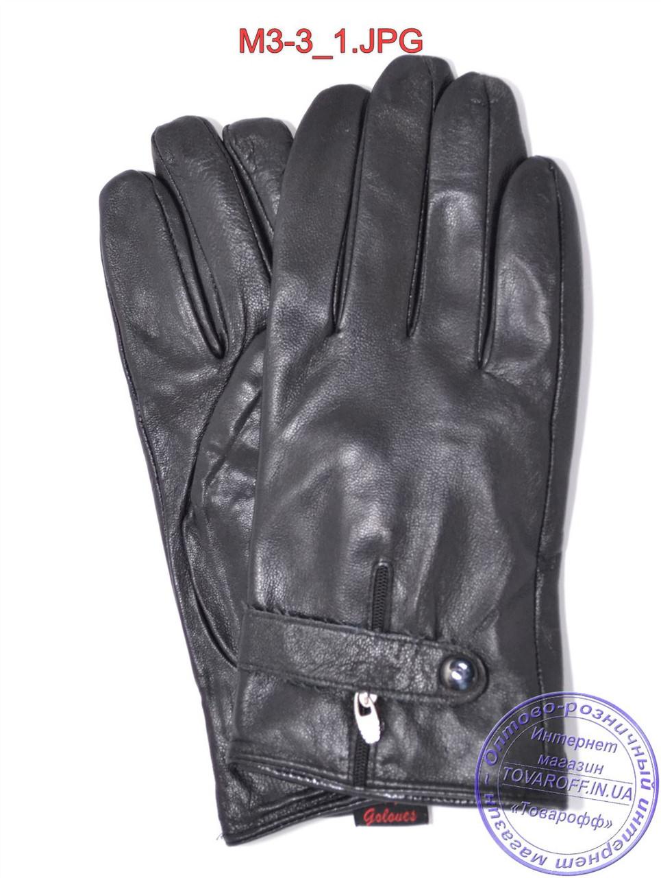 Оптом мужские кожаные перчатки с плюшевой подкладкой  - №M3-3