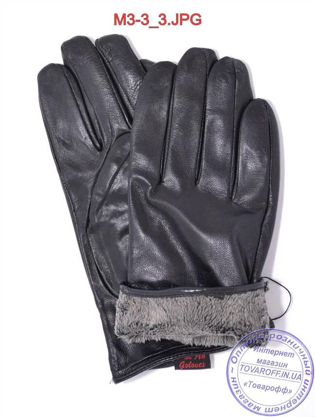Оптом мужские кожаные перчатки с плюшевой подкладкой  - №M3-3, фото 2