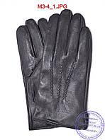 Мужские кожаные осенние перчатки с плюшевой подкладкой  - №M3-4, фото 1