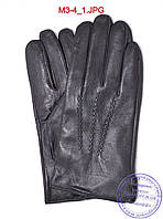 Оптом мужские кожаные перчатки с плюшевой подкладкой  - №M3-4, фото 1