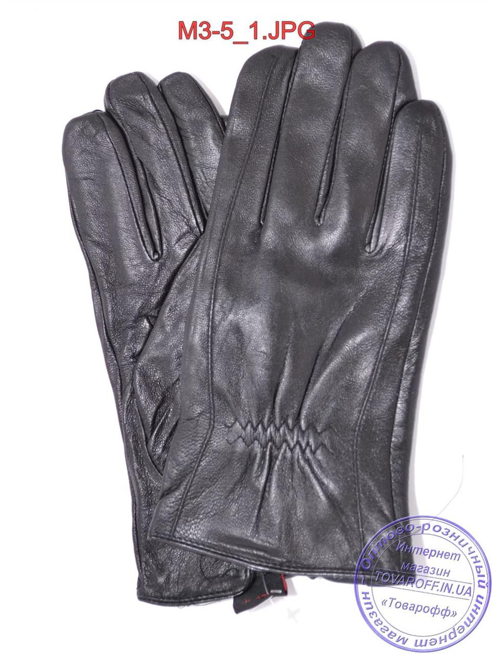 Оптом мужские кожаные перчатки с плюшевой подкладкой  - №M3-5