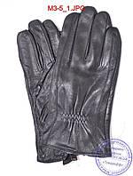 Оптом мужские кожаные перчатки с плюшевой подкладкой  - №M3-5, фото 1