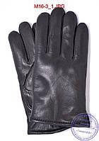 Мужские кожаные перчатки зимние на сером шерстяном меху - №M16-3, фото 1