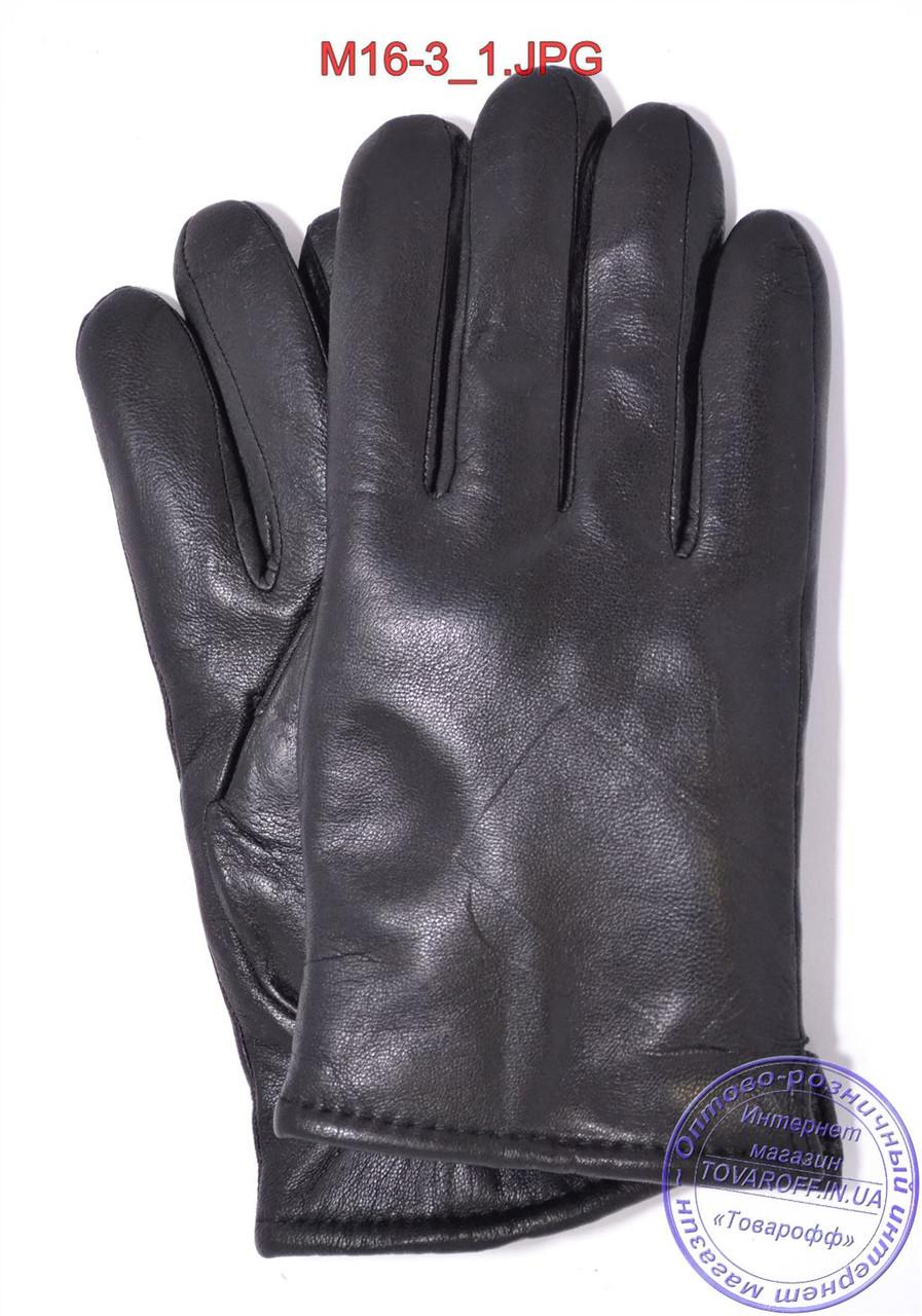 Оптом мужские кожаные перчатки зимние на сером шерстяном меху - №M16-3