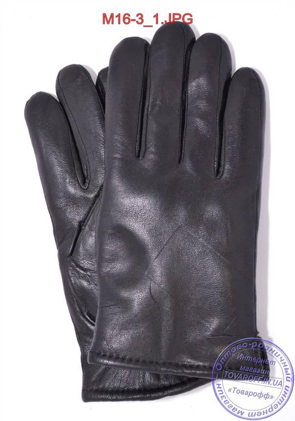Оптом мужские кожаные перчатки зимние на сером шерстяном меху - №M16-3, фото 2