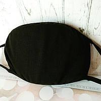 Многоразовая защитная маска для лица черная однотонная