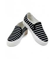 Слипоны обувь черные в белую полоску