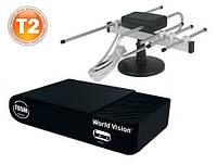 Комплект Т2  World Vision T65М + комнатная Т2 антенна Волна R-Net с усилителем