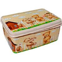 Коробка для вещей с крышкой 5,5л прямоуг № 3 200/280/120мм Плюшевый мишка ELIF