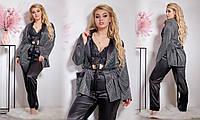 Женская стильная пижама: пиджак, брюки и кружевной топ Батал, фото 1