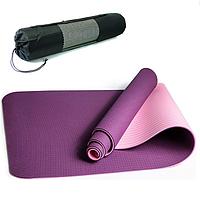 Фиолетовый коврик для йоги и фитнеса 8мм Оригинал TPE+TC, двухслойный + Подарок.