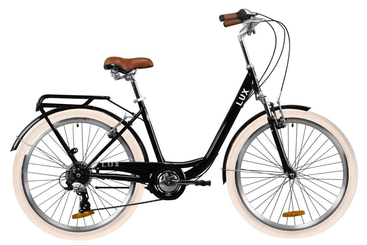 """Городской велосипед 26"""" Dorozhnik LUX AM Vbr трещотка с багажником зад St, с крылом 2020 St"""