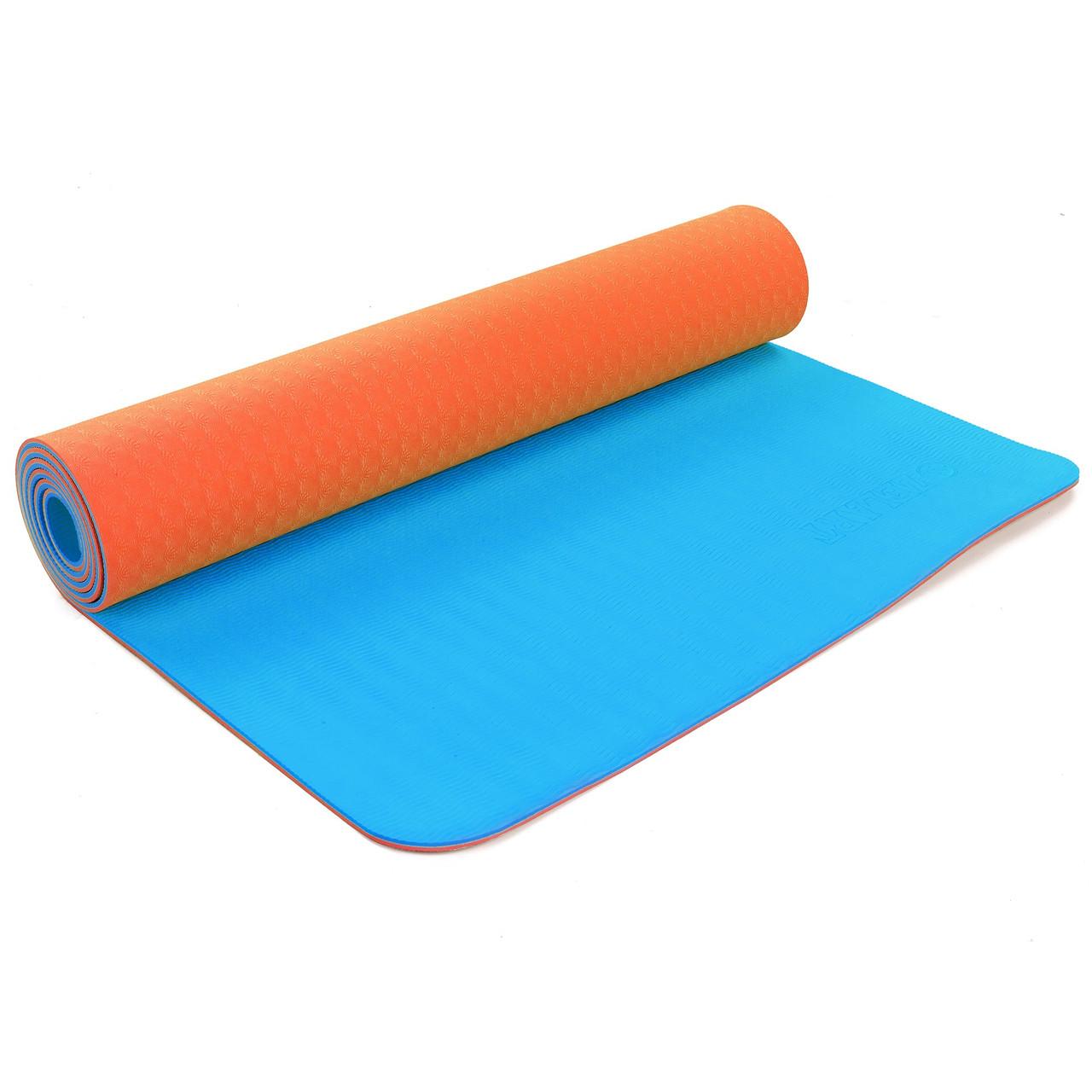 Коврик для фитнеса и йоги TPE+TC 6мм двухслойный 5172 (размер 1,73мx0,61мx6мм, цвет синий-оранжевый)))