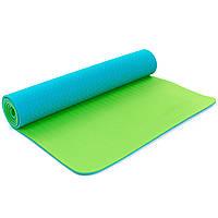 Коврик для фитнеса и йоги TPE+TC 6мм двухслойный 5172 (размер 1,73мx0,61мx6мм, цвет синий-зелёный))