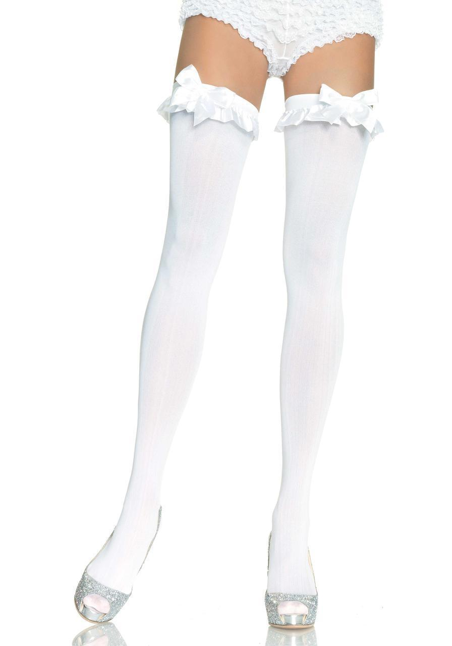 Высокие белые чулки с бантиком Opaque Thigh Highs With Bow от Leg Avenue