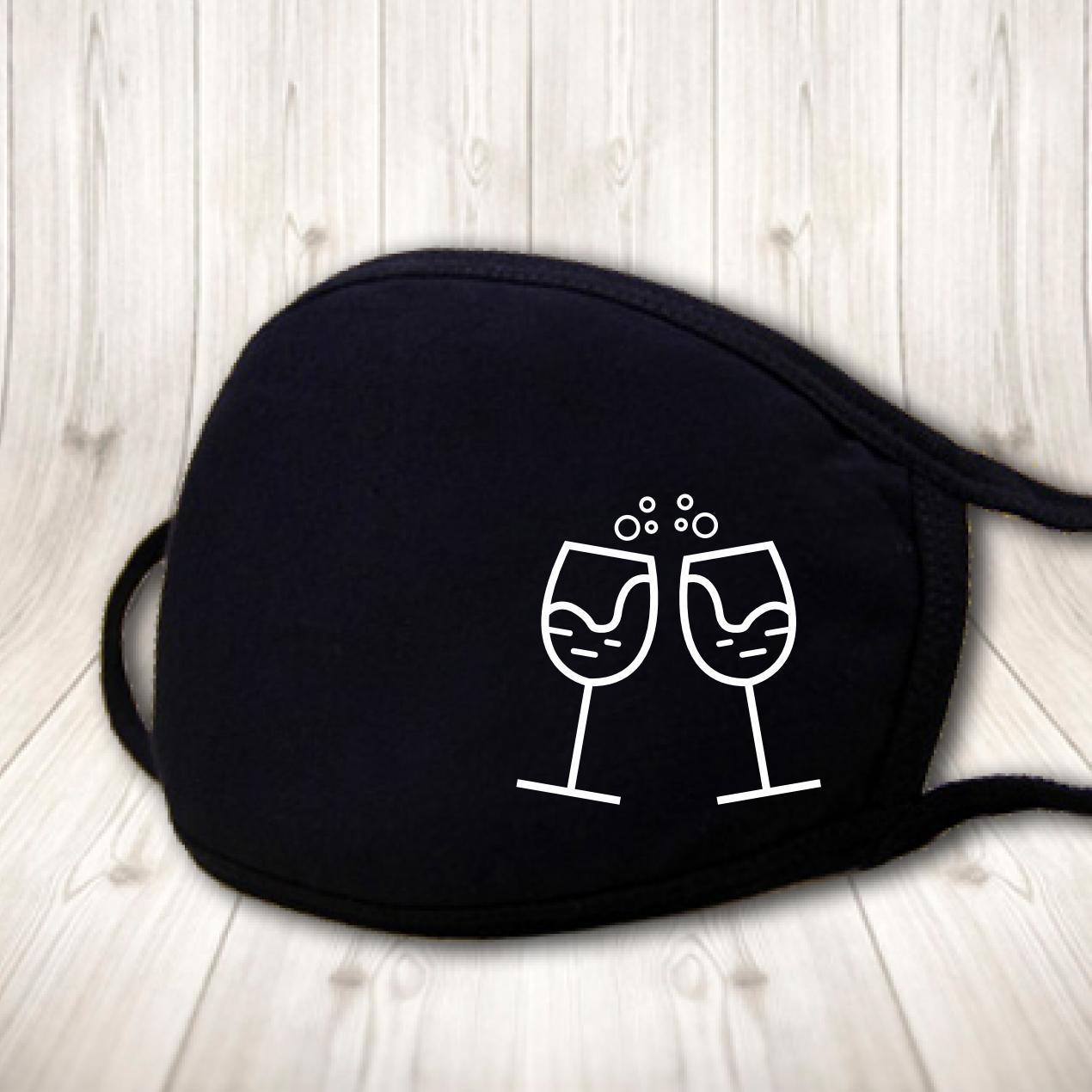 Детская многоразовая (респиратор) защитная маска на лицо с принтом Бокалы с игристым вином