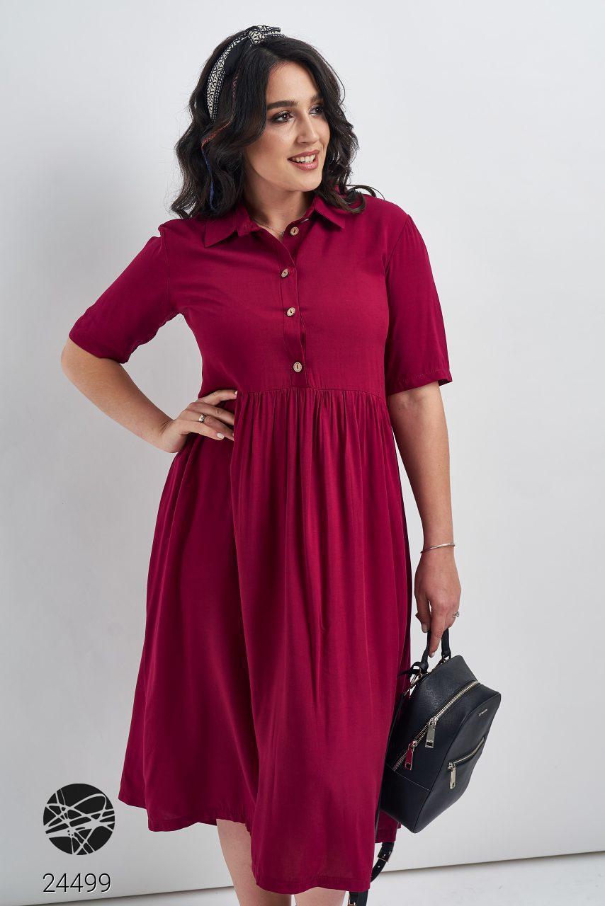 Свободное платье миди бордового цвета. Модель 24499. Размеры 48-54