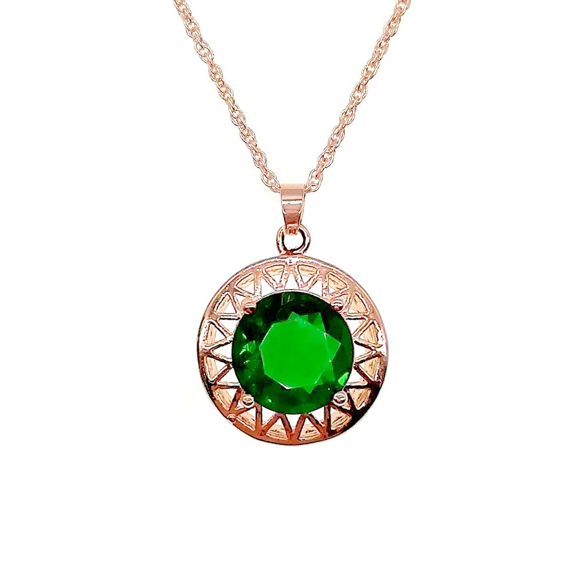 Подвеска на цепочке SONATA из медицинского золота, зеленый фианит, позолота PO, 42171             (1)