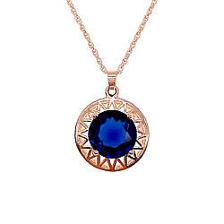 Подвеска на цепочке SONATA из медицинского золота, синий фианит, позолота PO, 42172             (1)
