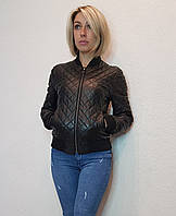 Женская кожаная куртка (бомбер) черная Maddox. Турция